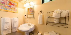 Bathroom sink and towel racks