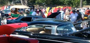Crowd of people at a car show