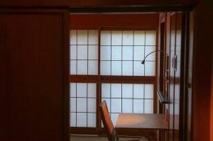desk and sliding door