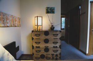 dresser with japanese lamp