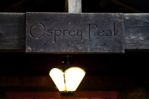 Osprey Peak sign and lamp