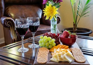 Cheese plate with wine