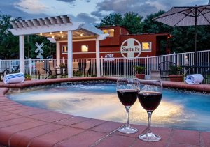 Wine glasses by the hot tub