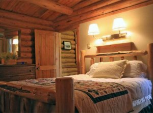 A wooden bed