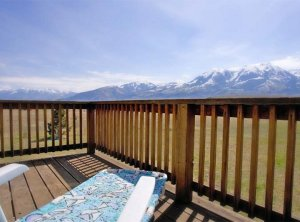 A view of mountains from the deck