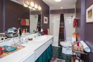 bathroom sink and shower  | The Inn at 410, Downtown Flagstaff, AZ