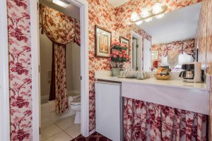 floral decor counter and shower | The Inn at 410, near Sedona, AZ