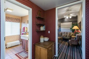 sitting room and bathroom doorways | The Inn at 410, within driving distance of Grand Canyon