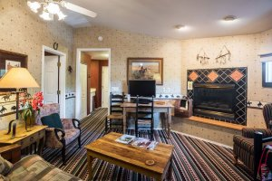 sitting room with fireplace | The Inn at 410, within driving distance of Grand Canyon