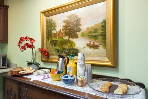 Breakfast bar beneath painting | The Inn at 410, Downtown Flagstaff, AZ