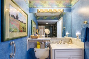 bathroom sink and blue textured walls | The Inn at 410, Downtown Flagstaff, AZ