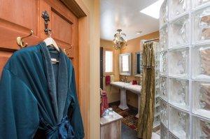 hanging bathrobe and glass bathroom shower | The Inn at 410, near Sedona, AZ