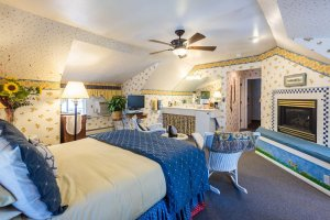 bed and fireplace | The Inn at 410, near Sedona, AZ
