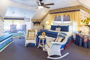 blue bedspread and wicker rocking chairs | The Inn at 410, near Sedona, AZ