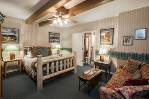log bed, sofa and coffee table | The Inn at 410, near Sedona, AZ