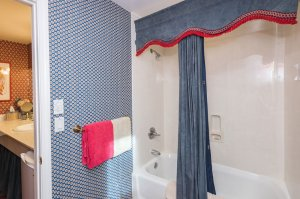 tub shower combo with blue curtain | The Inn at 410, near Sedona, AZ
