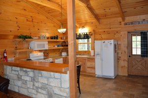 Kitchen area in the Honeymoon Cabin