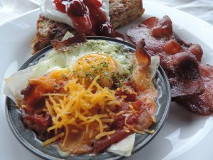 Holiday baked egg and bacon breakfast