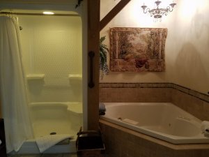 A two-person jacuzzi tub and double-wide shower