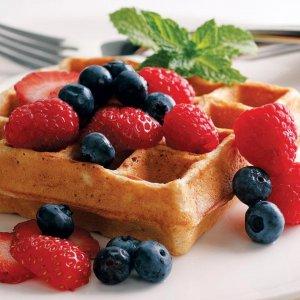 Summer Creek Inn Breakfast waffles and fruit