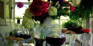 Tea and a floral arrangement
