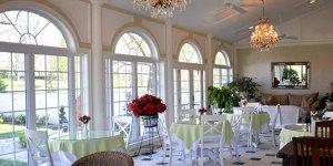 A sunlit dining area