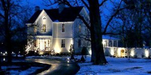 Exterior of the Inn on a winter night
