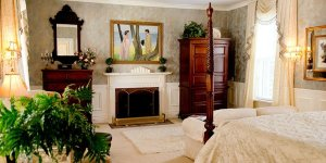 Bedroom with a fireplace