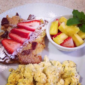 French toast, eggs, and fruit