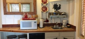 Kitchen counter with microwave and other amenities