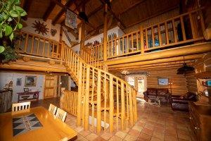 Interior wood stairway