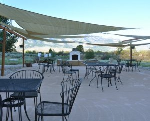Large patio with sunshades