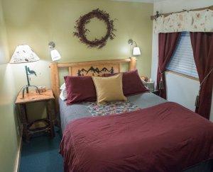 Maroon-themed bedroom