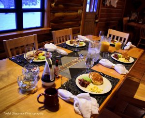 A dining table set for breakfast