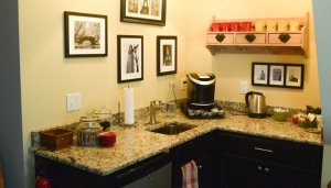 Counter with coffee maker and other amenities