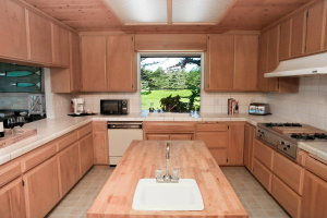 Kitchen with wood counters