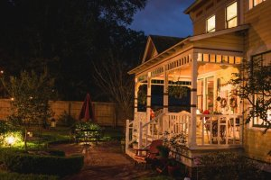 A well-lit porch