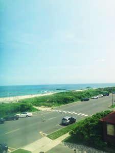 A view of the beach from the window