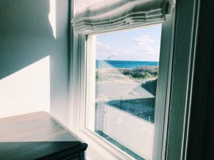 View through window to beach