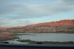 Redrock cliffs overlooking Lake Powell