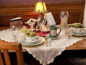 Plates, glasses, and a coffee mug on a table