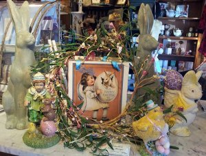 A happy easter message in a wreath