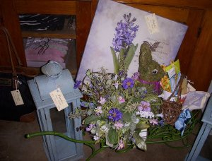 A decorative rabbit and flowers