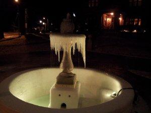 A frozen-over fountain