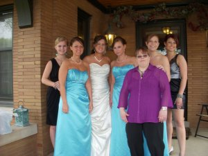 A bride with her family and friends