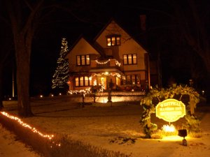 The Inn at night with decorative lights