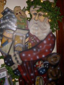 A cutout of Santa Claus