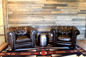 Leather chairs with silver barrel