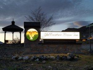 Yellowstone Basin Inn at night