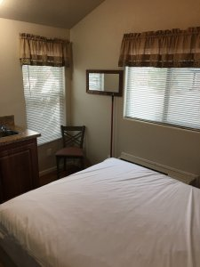 Moab Rim Campark New Deluxe Cabins bed chair windows